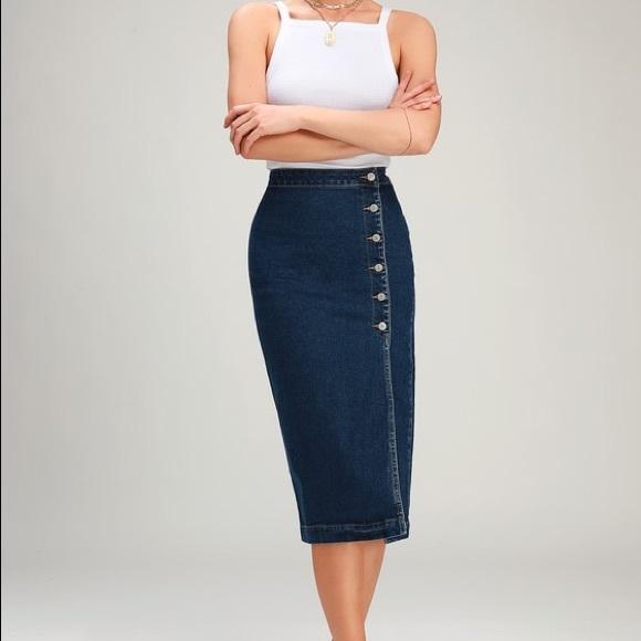 d7a41844a Free People Skirts   Jasmine Dark Wash Buttoned Midi Skirt   Poshmark